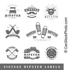Set of vintage hipster labels