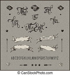 Set of vintage hipster ribbon, arrow, alphabet. - Bundle ...