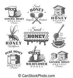 Set of vintage honey labels
