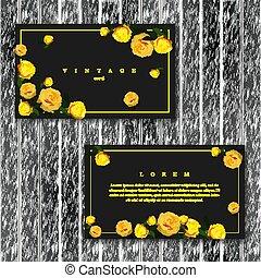 Set of vintage horizontal floral cards template