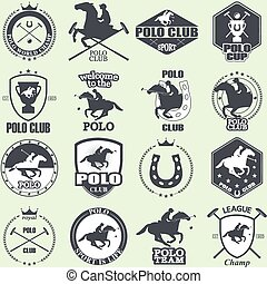 Set of vintage horse polo club labe