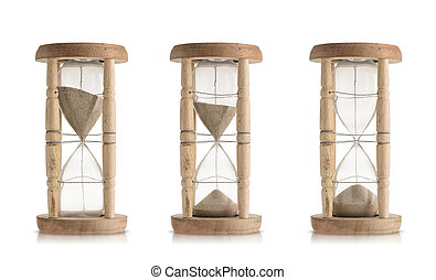 Set of vintage hourglasses isolated on white background