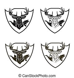 Set of vintage hunting and fishing crests