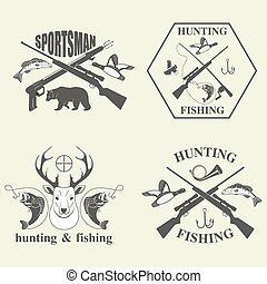Set of vintage hunting and fishing labels and design...