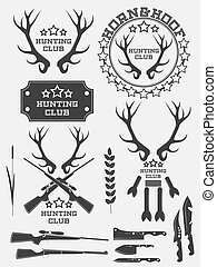 Set of vintage hunting logo, labels and badges. Deer. Horn. Weapon.