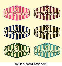set of vintage ice cream labels