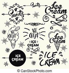 Set of vintage ice cream shop logo badges and labels.