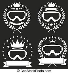 Set of Vintage Ice Snowboarding or SKI Club Badge and Label
