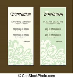 Set of vintage invitation cards