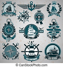 Set of vintage label with a nautica - The vector image Set...