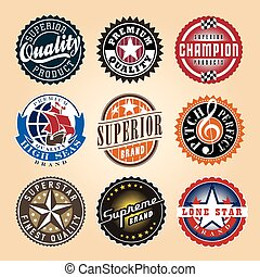 Set of Vintage Labels. Also available in black and white.
