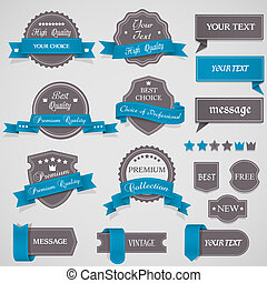 Set of vintage labels and ribbons - Set of vintage labels...