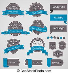 Set of vintage labels and ribbons - Set of vintage labels...