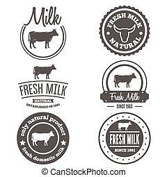 Set of vintage labels, logo, emblem templates for milk