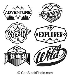 set of vintage labels mountain adventure