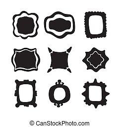Set of vintage labels old fashion. Old design in a new version. Modernism, Art Nouveau vector frame illustrations.