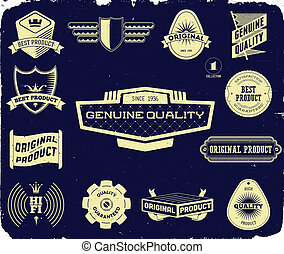 Set of vintage labels on the black. Collection 1 - Set of...
