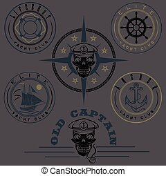 set of vintage labels with boat ,captain skull ,wheel,anchor and lifebuoy