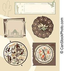 Set of vintage labels with landmarks