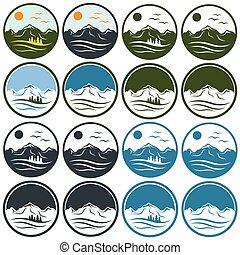 set of vintage labels with mountains ,pines, sun and birds