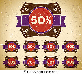 Set of vintage labels with sale percent