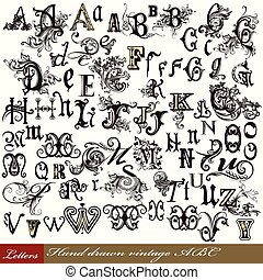 Set of vintage letters English alphabet hand drawn swirl letters.eps
