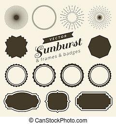Set of vintage line frames and labels with sunburst. Hipster border design light ray
