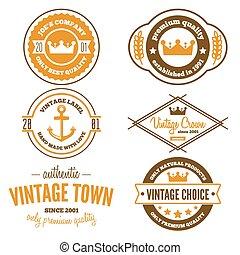 Set of vintage logo, badge, emblem or logotype elements at background