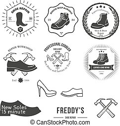 Set of vintage logo, badge, emblem or logotype elements for shoemaker