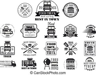 Set of vintage logos for street food. Monochrome vector emblems with trucks, tacos, hamburgers, hot-dogs, kitchen utensils, grill, lettering. Fresh and tasty eating