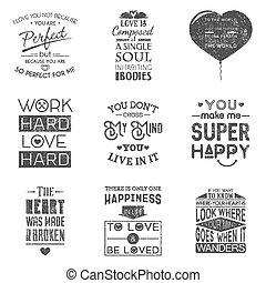 Set of vintage love typographic quotes