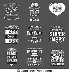 Set of vintage love typographic quotes