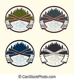 Set of vintage lumberjack labels and design elements