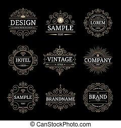 Set of vintage luxury logo templates with flourishes elegant...