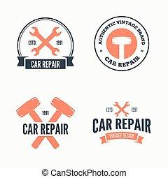 Set of vintage mechanic labels, emblems and logo. Vector illustration