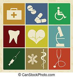 Set of vintage medical icons