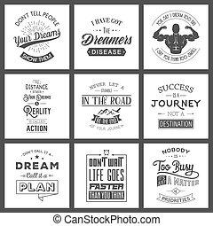 Set of vintage motivation typographic quotes.