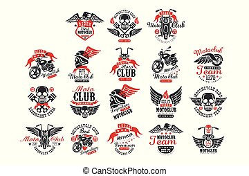 Set of vintage motorcycle club logos, emblems, labels, badges. Monochrome elements with motorbike, skull, eagle and wheel with wing. Vector for t-shirt print or poster