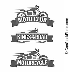 Set of vintage motorcycle labels, badges and logos - Vector...