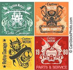 Set of vintage motorcycle labels. Vector stpck illustration....