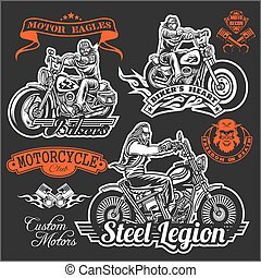 Set of Vintage motorcycle t-shirt prints, emblems, labels, badges and logos. Monochrome style. Isolated on gray background