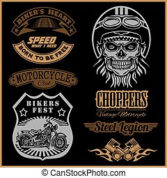 Set of Vintage motorcycle t-shirt prints, emblems, labels, badges and logos. Monochrome style.
