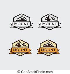 Set of vintage mountain logo vector, icon, symbol, illustration design template