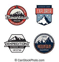 Set of vintage mountain outdoor labels