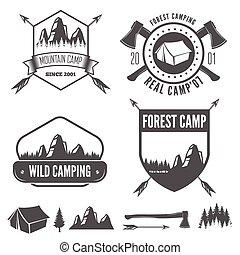 Set of vintage mountains or forest camp badges and travel label, badge emblems