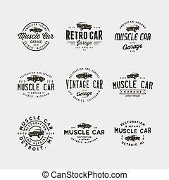 set of vintage muscle car garage logos. vector illustration