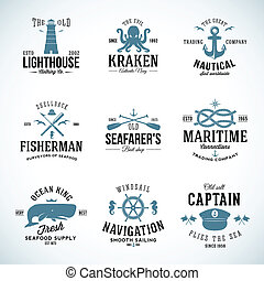 Set of Vintage Nautical Labels and Signs With Retro...
