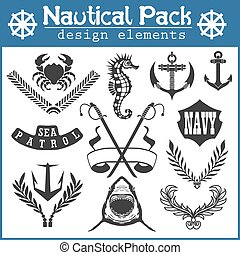 Set of vintage nautical labels, icons and design elements