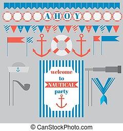 set of vintage nautical party elements