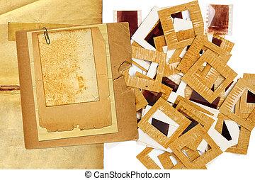 Set of vintage old slides, photos and film
